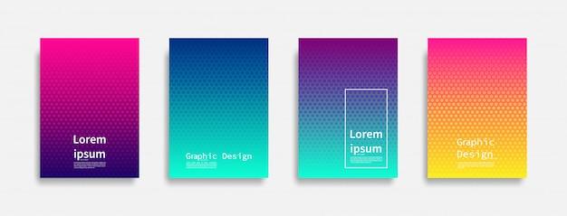 Minimal covers design. halftone dots colorful design. future geometric patterns. Premium Vector