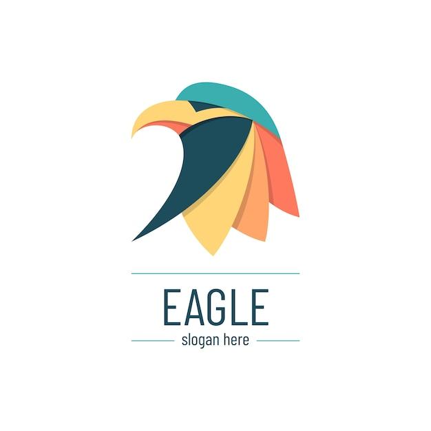 Минимальный креативный и красочный шаблон логотипа орла Premium векторы