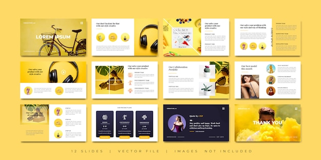 Минимальный креативный дизайн презентаций Premium векторы