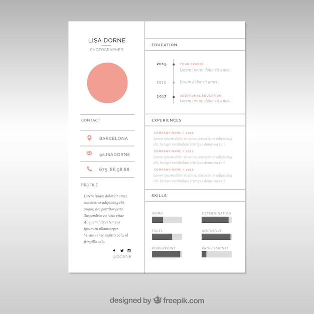 minimal cv template with lines vector