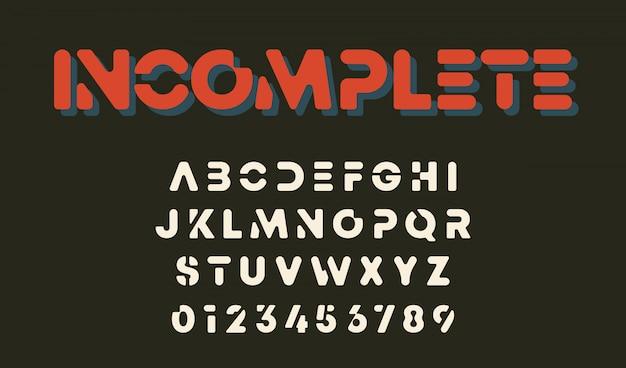 最小限のデザインアルファベットテンプレート。文字と数字が不完全なデザイン。 Premiumベクター