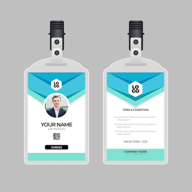 Minimal design id cards template with photo Free Vector