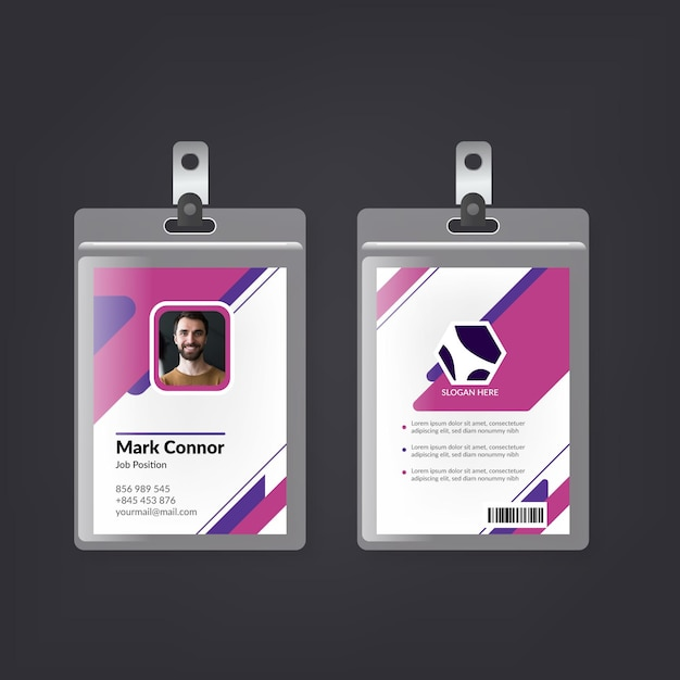 Minimal design id cards template Free Vector