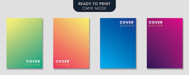 Minimal design set with gradient background and abstract circles Premium Vector