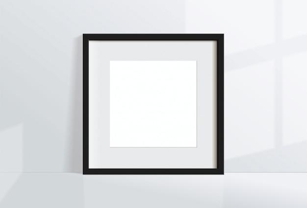 Минимальная пустая квадратная черная рамка изображение висит на белой стене с окном света и тени. изолировать иллюстрации. Premium векторы