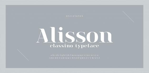 Элегантный удивительный алфавит букв шрифта и номер. классическая надпись minimal fashion designs. типографские шрифты обычные прописные и строчные Premium векторы