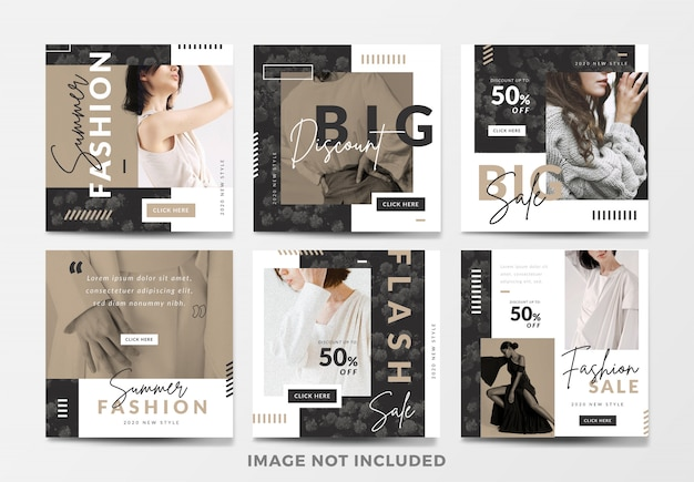 Minimal fashion sale square banne rset Premium Vector