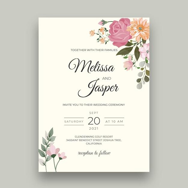 Минимальная цветочная свадебная открытка Бесплатные векторы