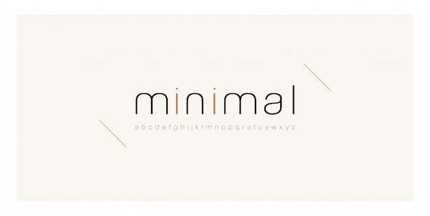 Minimal font creative thin line modern alphabet. Premium Vector