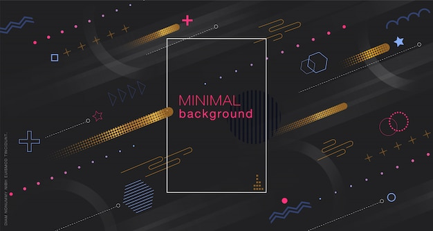 Minimal geometric black background Premium Vector