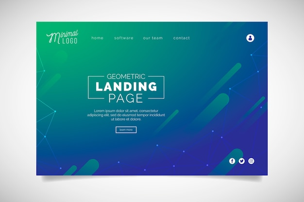 Minimal geometric landing page with gradient Free Vector