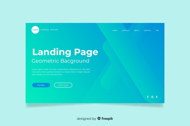 Minimal geometric landing page Free Vector