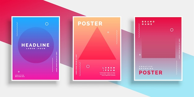 Minimal geometric memphis style poster background set Free Vector