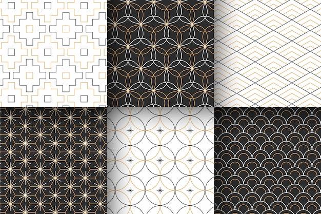 최소한의 기하학적 패턴 모음 프리미엄 벡터