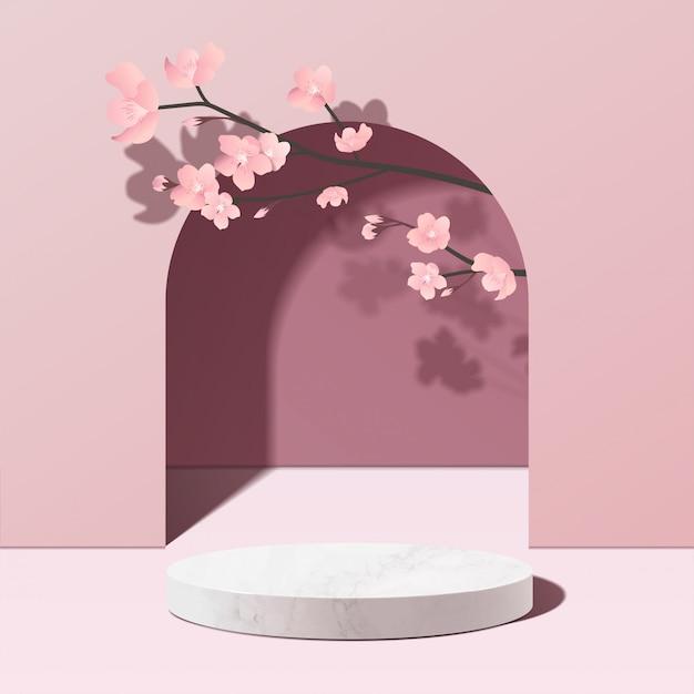 분홍색의 최소한의 기하학적 인 흰색 대리석 연단 모형 프리미엄 벡터