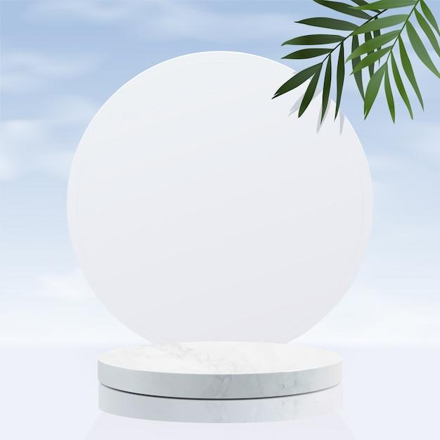 하늘이있는 최소한의 기하학적 인 흰색 대리석 연단 프리미엄 벡터