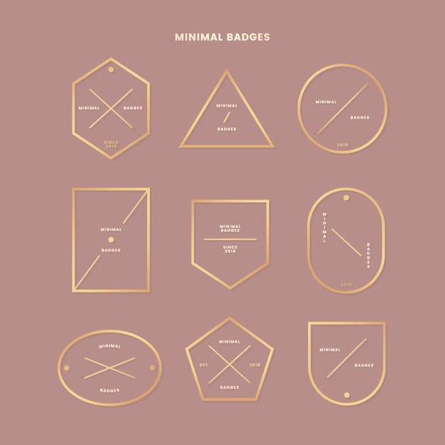 Minimal gold badge collection Free Vector