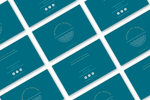 Minimal golden business cards with text shapes set Free Vector