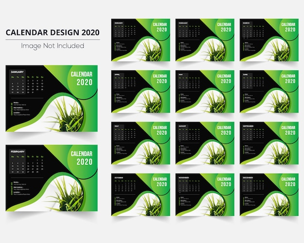 Minimal green desk calendar 2020 Premium Vector