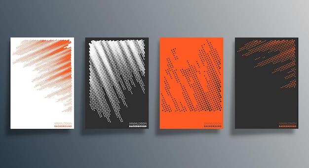 チラシ、ポスター、パンフレットの表紙、背景、壁紙、タイポグラフィ、その他の印刷製品の最小限のハーフトーンデザイン。ベクトルイラスト。 Premiumベクター