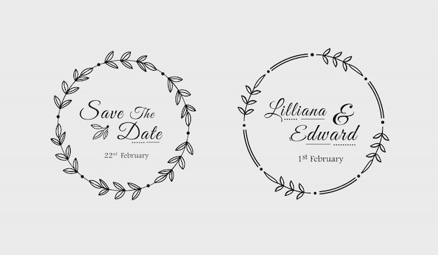 Minimal hand drawn floral wedding badges Premium Vector
