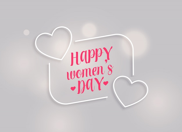 minimal happy women's day background with line hearts Free Vector