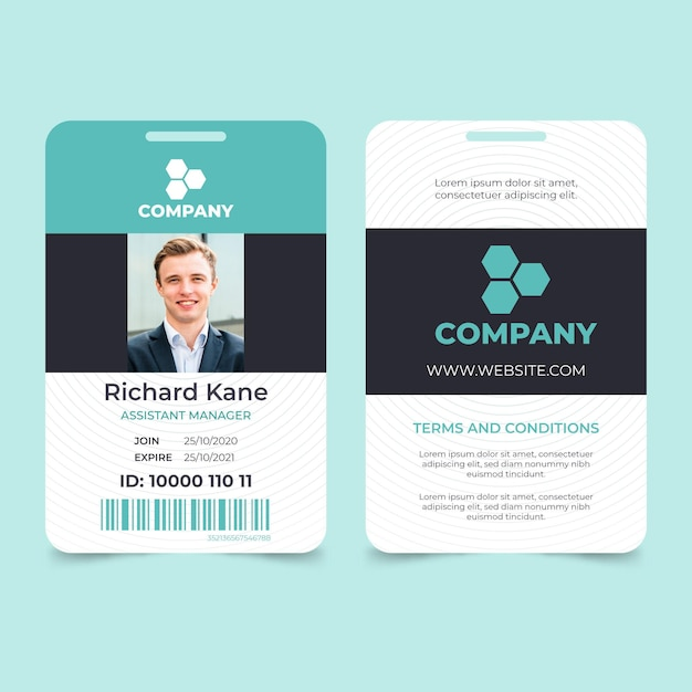 Minimal id card with photo Free Vector