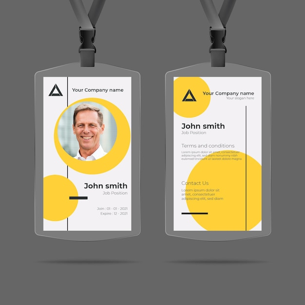 Minimal id cards design with photo Free Vector