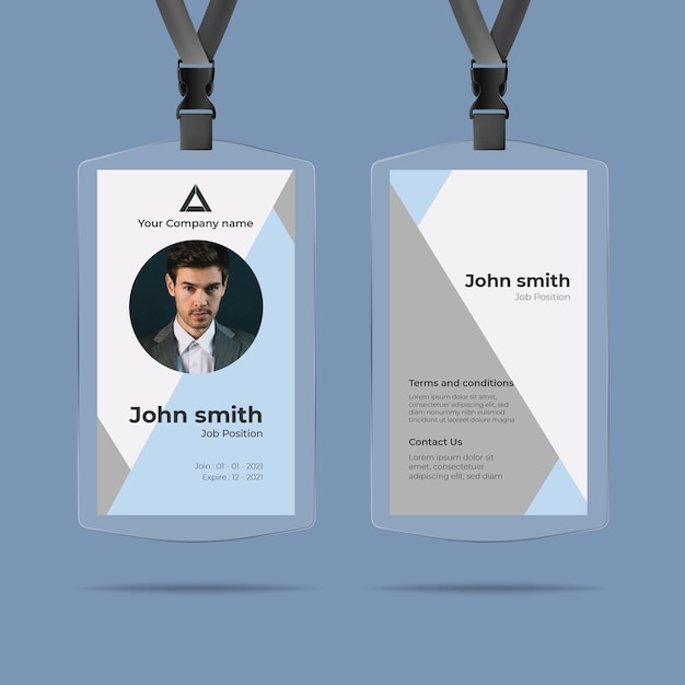 Minimal id cards style with photo Free Vector