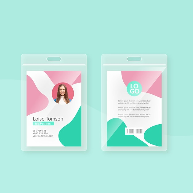 Minimal id cards template design Free Vector