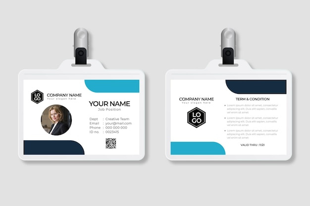 Minimal id cards template with image Premium Vector