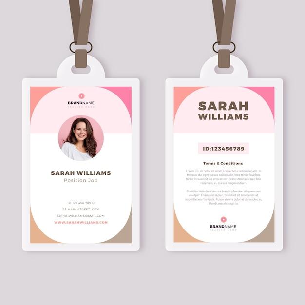 Modello di carte d'identità minimo con immagine Vettore gratuito