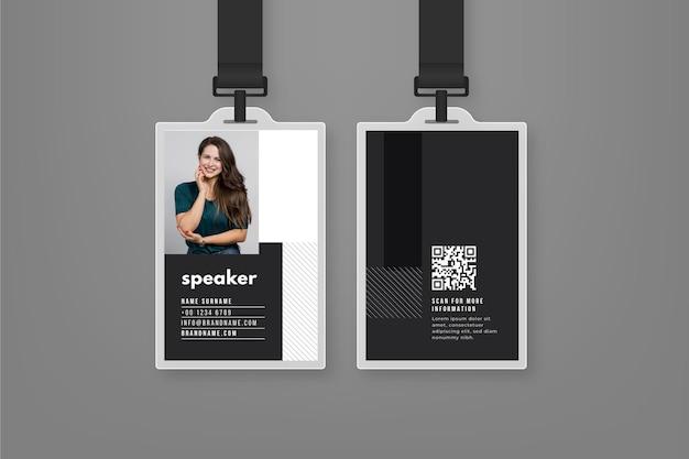 Modello di carte d'identità minimo con foto Vettore gratuito