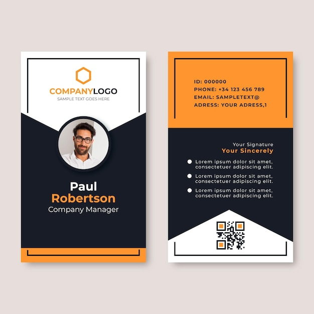 Minimal id cards template with photo Free Vector