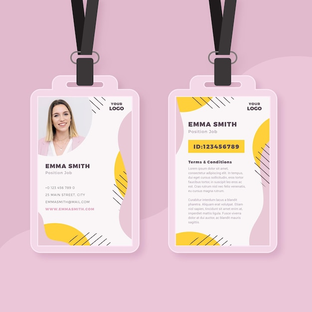 Minimal id cards template with photo Premium Vector