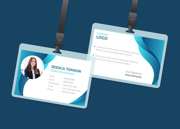 Minimal id cards template Free Vector