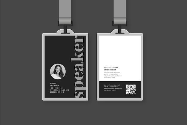 Carte d'identità minime con foto Vettore gratuito