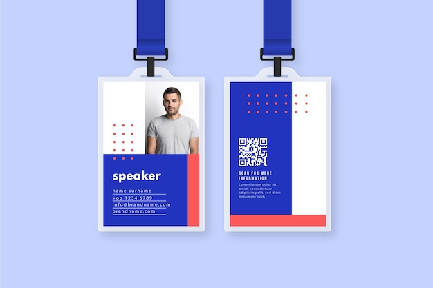 Minimal id cards with picture Free Vector