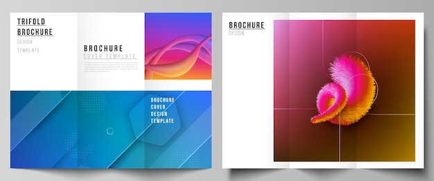 Minimal illustration layouts. modern creative covers design templates for trifold brochure or flyer. futuristic technology design, colorful backgrounds with fluid gradient shapes composition. Premium Vector
