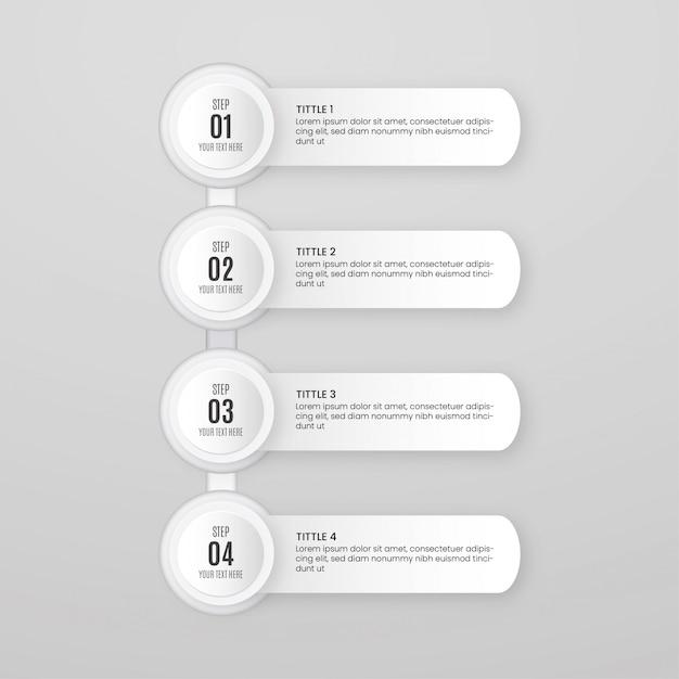 Минимальный шаблон инфографики шагов Бесплатные векторы