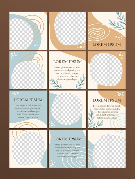 Minimal instagram puzzle with twelve templates Free Vector