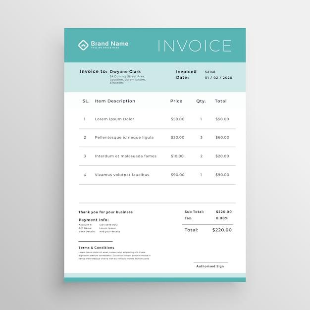 minimal invoice template vector design vector free download