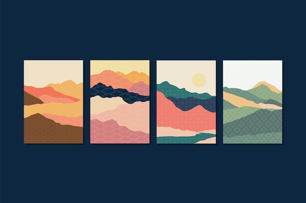 Free Vector Minimal Japanese Cover Collection Design