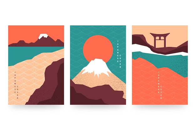 Minimal japanese cover collection style Free Vector