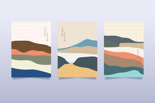 Минимальная японская коллекция обложек Бесплатные векторы