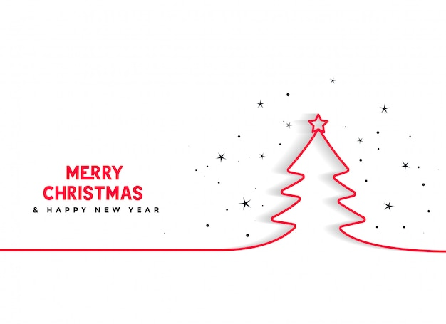 Minimal line christmas tree background Free Vector