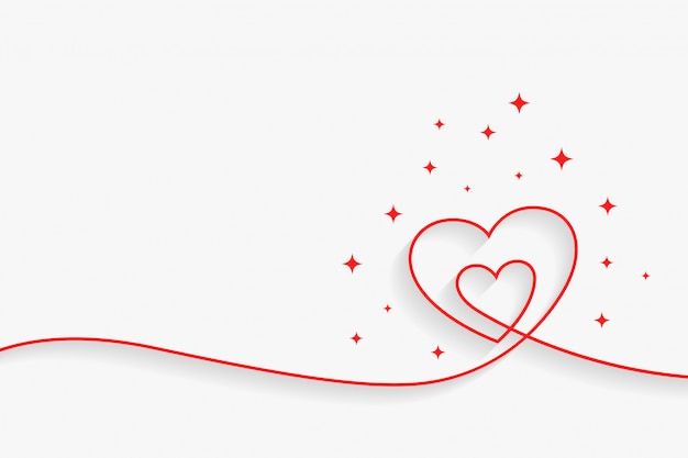 Minimal line heart background with text space Free Vector