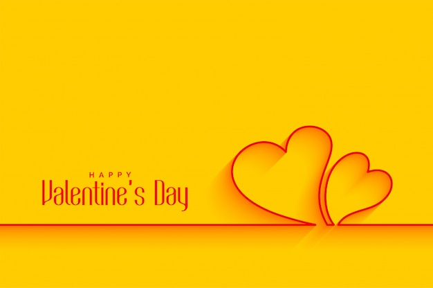 Minimal line hearts shapes on yellow background Free Vector