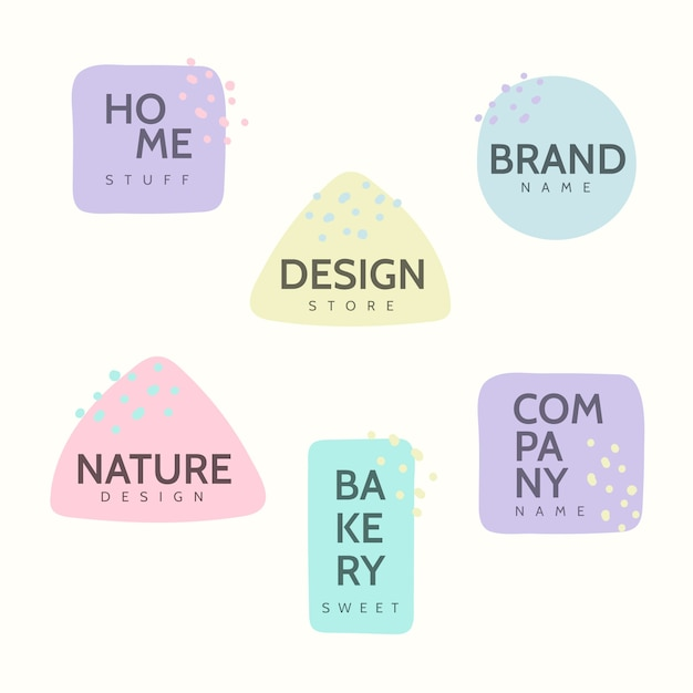 Minimal logo collection with pastel colors Free Vector