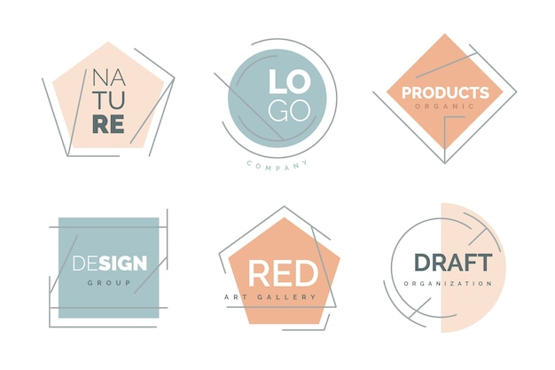 Minimal logo collection with pastel colors Premium Vector